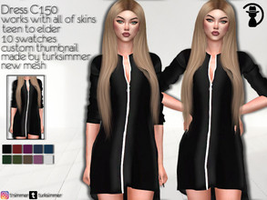 Sims 4 — Dress C150 by turksimmer — 10 Swatches Works with all of skins Custom Thumbnail New Mesh All Lods Teen to Elder