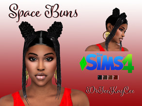 Sims 4 — Space Buns Hair by drteekaycee — This funky ethnic hairdo is for the playful sims that wants to be sexy and
