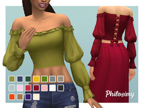 Sims 4 — Puff Sleeves, Off the Shoulder Top by Philosimy — A lovely maxis-match off the shoulder top, with piratey puff