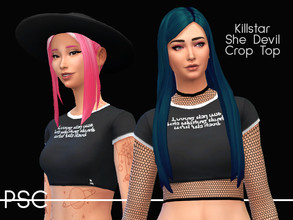 Sims 4 — Killstar She Devil Crop TOp by ProudSimCreations — Inspired by the She Devil crop top from Killstar. First and