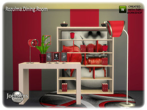 Sims 4 — Rozulma Dining room next part by jomsims — here the next part for Rozulma dinign room. Audio. deco furniture.