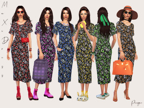 Sims 4 — MaxiDress by Paogae — Funny floral dress, six colors, long and wide, with side vents, perfect for young and old,