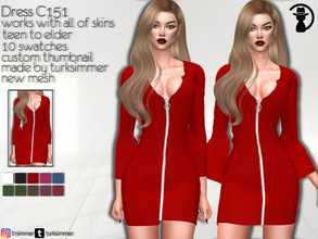 Sims 4 — Dress C151 by turksimmer — 10 Swatches Works with all of skins Custom Thumbnail New Mesh All Lods Teen to Elder