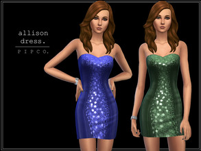 Sims 4 — pipco - allison dress. by Pipco — a glittery, elegant dress. 10 swatches base game compatible ea mesh edit all