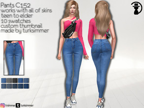 Sims 4 — Pants C152 by turksimmer — 10 Swatches Works with all of skins Custom Thumbnail Teen to Elder For; Female