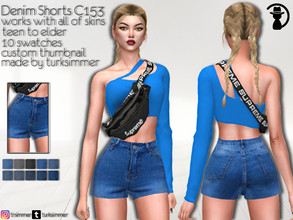 Sims 4 — Denim Shorts C153 by turksimmer — 10 Swatches Works with all of skins Custom Thumbnail Teen to Elder For; Female