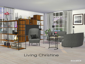 Sims 4 — Living Christine by ShinoKCR — Sleek and modern Livingroom -Loveseat -Living Chair -Pillows for Loveseat and