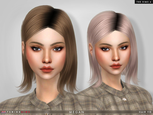 Sims 4 — Megan ( Hair 118 ) by TsminhSims — New meshes - 20 colors - HQ texture - Custom shadow map, normal map - All