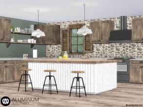 Sims 4 — Aluminum Kitchen by wondymoon — Aluminum rustic style kitchen! Have fun! - Set Contains * Stove * Stove Hood * 2