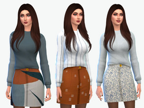 Sims 4 — Fallon Sweater and Skirt by greyzonesims — The Fallon sweater and skirt set comes in ten cozy swatches that mix