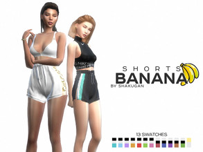 Sims 4 — Shorts Banana by Alexa_Catt — Clothing Bottom - Shorts From teen to elder 13 swatches HQ compatible Original