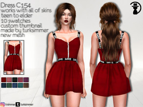 Sims 4 — Dress C154 by turksimmer — 10 Swatches Works with all of skins Custom Thumbnail New Mesh All Lods Teen to Elder