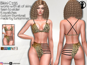 Sims 4 — Bikini C155 by turksimmer — 5 Swatches Works with all of skins Custom Thumbnail Teen to Elder For; Female