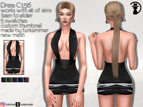 Sims 4 — Dress C156 by turksimmer — 5 Swatches Works with all of skins Custom Thumbnail New Mesh All Lods Teen to Elder