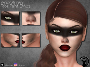 Sims 4 — Apocalypse Face Paint EM01 by turksimmer — 6 Swatches Works with all of skins Custom Thumbnail Teen to Elder