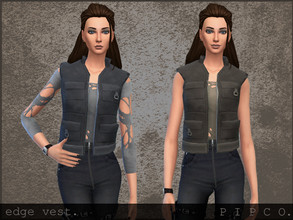 Sims 4 — pipco - edge vest. by Pipco — a simple vest with a torn top underneath.