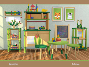 Sims 4 — Susanna by soloriya — A set of furniture for your kids rooms. Includes 10 objects, has 4 color variations. Items