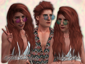 Sims 3 — Hippie Sunglasses - Version 1 by Lutetia — A cute pair of colored retro-style glasses - round version ~ Teen to