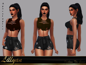 Sims 4 — Top Raica Apocalyptic by LYLLYAN — Top in 4 colors. Base game.
