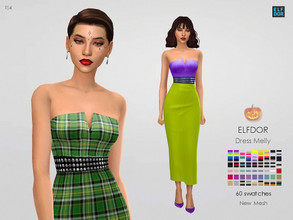 Sims 4 — Dress Melly by Elfdor — - 60 swatches - teen to elder - everyday, formal, party - base game compatible - with