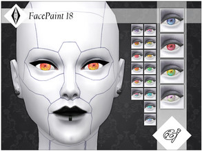 Sims 4 — FacePaint 18 by AleNikSimmer — Contacts inspired by futuristic cyborgs, they come in 18 colors all with white