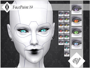 Sims 4 — FacePaint 19 by AleNikSimmer — Contacts inspired by futuristic cyborgs, they come in 18 colors all with black