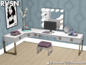 Sims 4 — Social Distancing Desk & Vanity Set by RAVASHEEN — Times are cray and some simmies are social distancing and