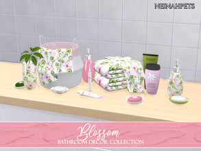 Sims 4 — Blossom Bathroom Decor {Mesh Required} by neinahpets — A lovely watercolor cherry blossom bathroom collection.