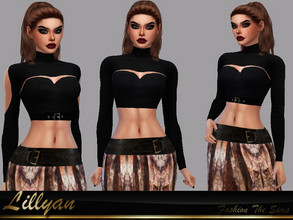 Sims 4 — Top Suzana Apocalyptic by LYLLYAN — Top in 3 models. Black color. Base game.