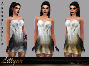 Sims 4 — Dress Elaine Apocalyptic by LYLLYAN — Dress in 3 colors . Base game.