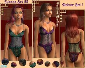 Sims 2 — Set 82  Deluxe I by Lianaa — Deluxe I - Festive set of undies in wonderful colour combinations, part of a