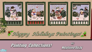 Sims 2 — NSC Painting Set93 - Christmas by Neptunesuzy — Your Sims will love these Holiday Snowman Paintings! Enjoy!
