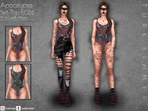 Sims 4 — Apocalypse Set-Top EC01 by turksimmer — 2 Swatches Works with all of skins Custom Thumbnail Teen to Elder For;