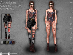 Sims 4 — Apocalypse Set-Bottom EC02 by turksimmer — 5 Swatches Works with all of skins Custom Thumbnail Teen to Elder