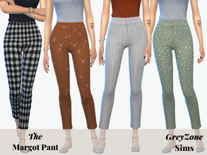 Sims 4 — Margo Pant - City Living needed by greyzonesims — The Margot pant features fifteen swatches of various plaids,