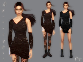 Sims 4 — Apocalypse by Paogae — Simple short dress, two colors, created for the apocalyptic theme. Standalone with