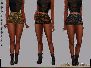 Sims 4 — Shorts Sandra Apocalyptic by LYLLYAN — Shorts in camouflage print in 4 shades.