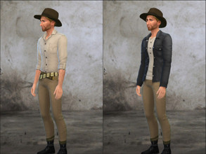 Sims 4 — Indiana Jones - Shirt by Pandeajo — Standalone recolour of a Jungle Adventure shirt