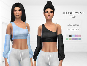Sims 4 — Loungewear Top by Puresim — Modern loungewear top. - New mesh - 10 colors - Tested in game - All lods Enjoyy !!