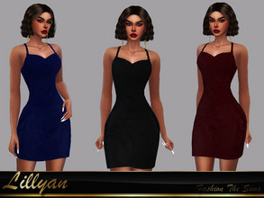 Sims 4 — Dress Patricia by LYLLYAN — Dress in 3 colors. New mesh made from EA meshes. Base game.