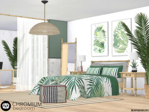 Sims 4 — Chromium Bedroom by wondymoon — Tropical style bedroom with bamboo, palm tree and rope details; Chromium! Have