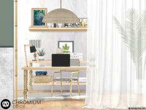 Sims 4 — Chromium Office by wondymoon — Tropical style office with bamboo or plain wood texture options; Chromium! Have