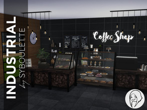Sims 4 — Industrial Coffee Shop by Syboubou — This set contains all the basics for your coffee shop, restaurant, or even