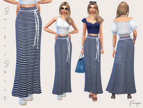 Sims 4 — SailorSkirt by Paogae — A classic for the summer, a maxi skirt with white and blue stripes to combine with