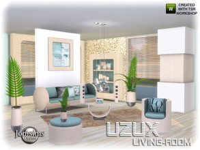 Sims 4 — Uzux living room by jomsims — Uzux living room modern for your Sims 4. set in 4 wood shades. sofa. cushion sofa.