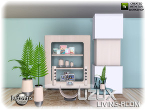 Sims 4 — Uzux living room 1_2 by jomsims — Uzux living room 1_2 here the set deco objects for living room Uzux. 3 plants.