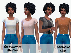 Sims 4 — Patterned Eliza Tee by greyzonesims — The Eliza Tee is a versatile, casual shirt featuring 21 patterns. It