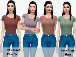 Sims 4 — Solid Eliza Tee by greyzonesims — The Eliza Tee is a versatile, casual shirt featuring 22 chic colors. It