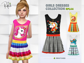 Sims 4 — Girls Dresses Collection RPL44 by RobertaPLobo — :: 4 swatches :: New Mesh :: All lods :: Age: Child :: Occult: