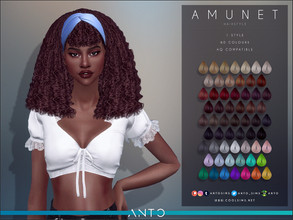Sims 4 — Anto - Amunet (Hairstyle) by Anto — Curly hair with bandana.